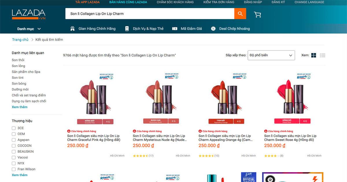Review Son lì Collagen siêu mịn Lip On Lip Charm từ chương trình đại tiệc lần thứ 6 Lazada