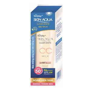 Review Sunplay Skin Aqua Clear White CC Milk SPF50+, PA++++- Sữa chống nắng dưỡng da và trang điểm nhẹ