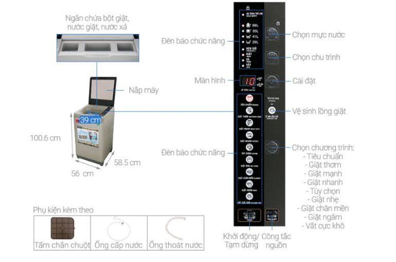 Máy giặt Aqua 9 Kg AQW-U91CT N - Giá rẻ nhất: 5.139.000 vnđ