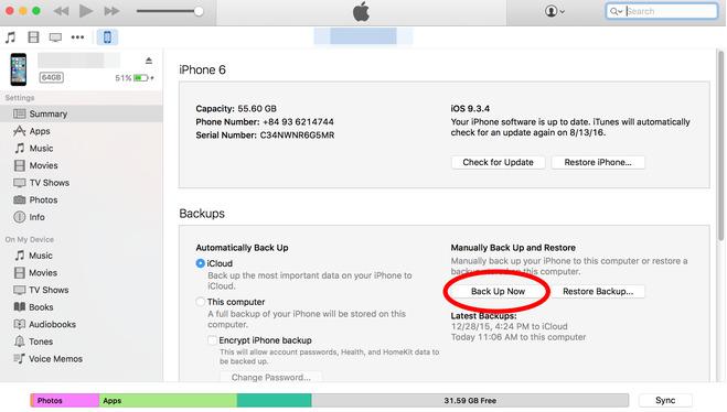 Khắc phục iPhone bị vô hiệu hóa bằng các sử dụngtiện ích trên iTurnes