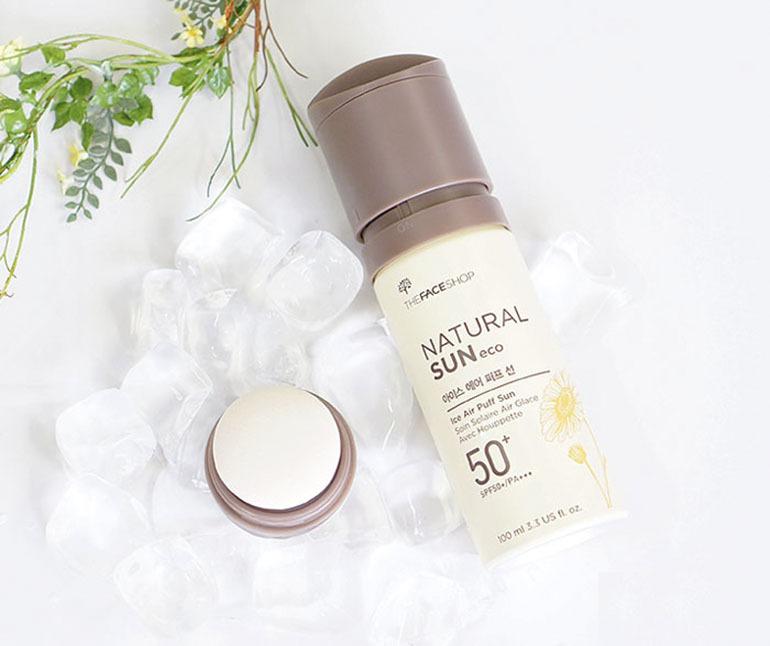 Kem chống nắng The Face Shop Ice Air Puff cho da mặt hiệu quả ngay lần đầu sử dụng