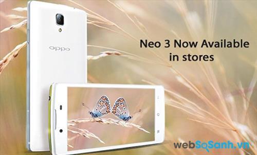Điện thoại Oppo Neo 3 có thiết kế khá vuông vắn khi nhìn từ mặt trước