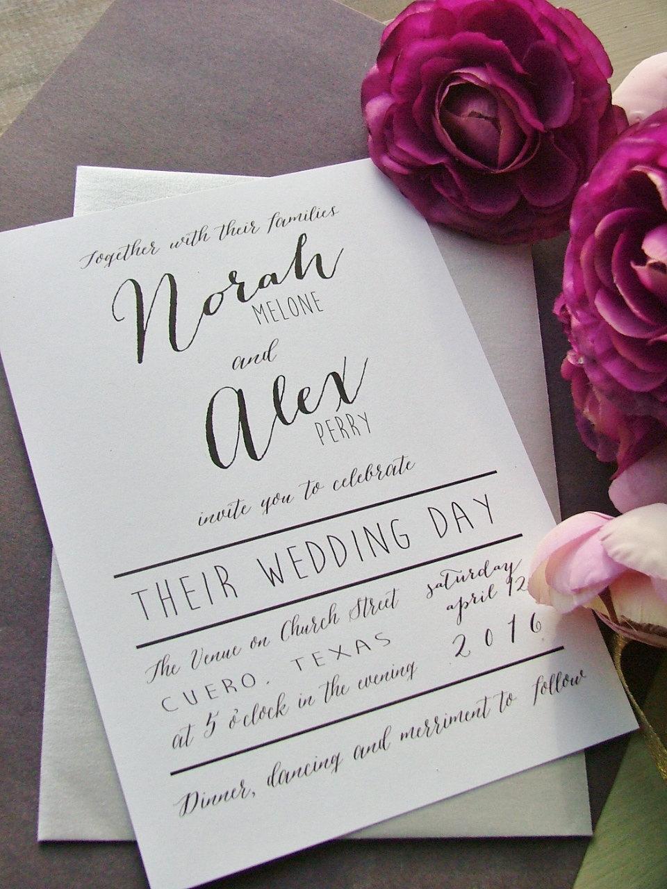 Mẫu thiệp cưới đơn giản với những dòng chữ cách điệu, nghệ thuật