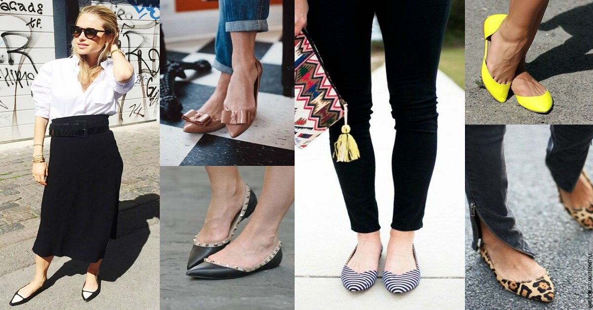 giày búp bê mũi nhọn đế bệt