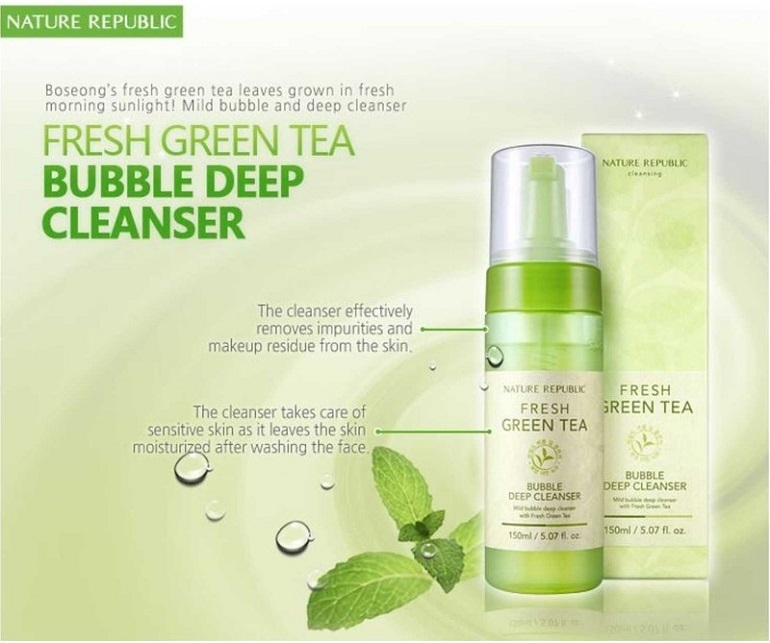 Sữa rửa mặt Nature Republic Fresh Green Tea Bubble Deep Cleanser
