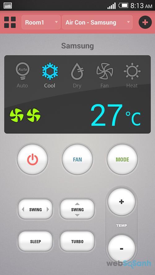 Ứng dụng điều khiển điều hòa bằng smartphone: IR Remote