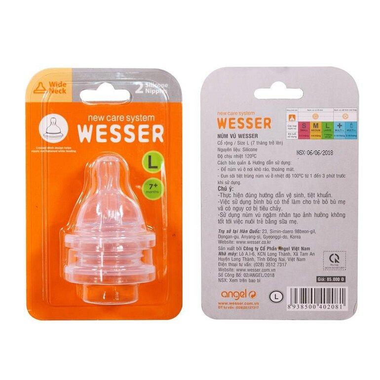 Núm bình sữa Wesser size L