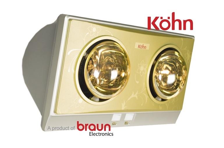 Phân biệt đèn sưởi Braun 2 bóng chính hãng bằng bóng đèn.