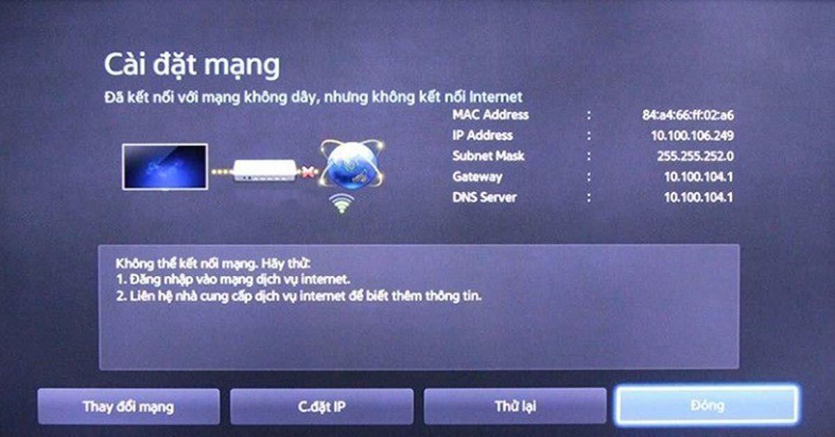 Smart tivi Samsung không kết nối wifi, không vào được mạng internet phải làm gì?