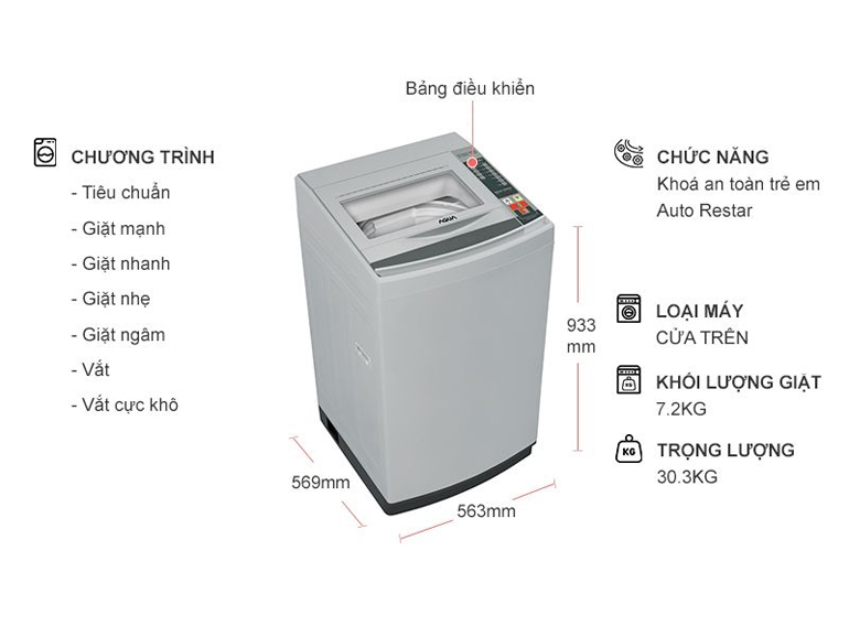 Máy giặt Aqua AQW-S72CT - 7.2 Kg, lồng đứng