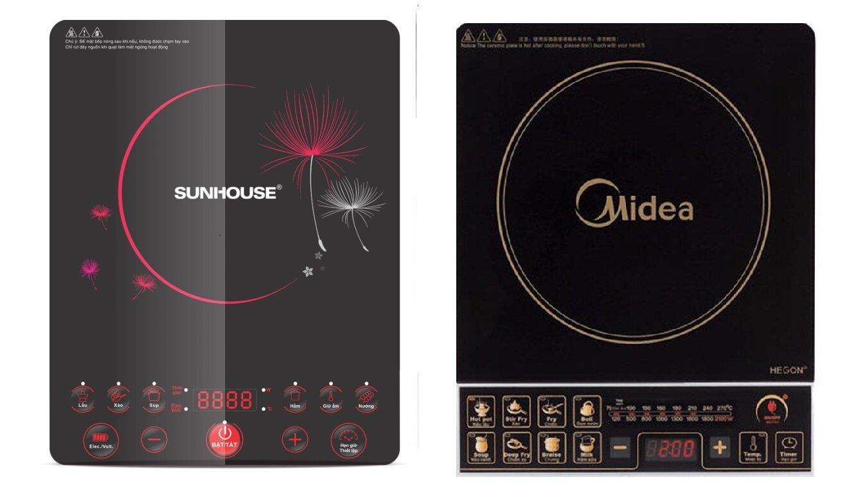 So sánh bếp điện từ giá rẻ Sunhouse SHD6152 và bếp điện từ Midea MISV21DQ