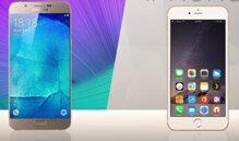So sánh điện thoại di động Galaxy A8 và iPhone 6