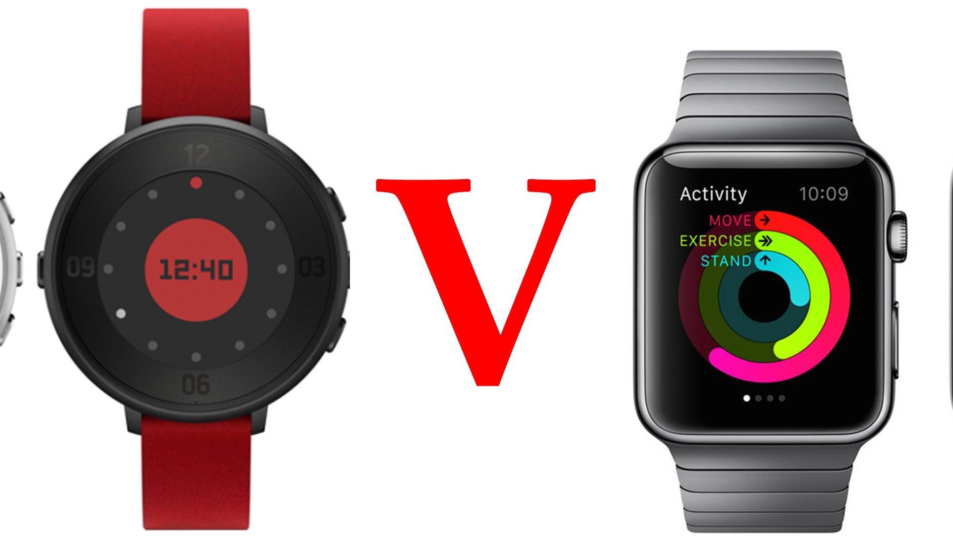 So sánh đồng hồ thông minh Apple Watch và Pebble Time Round