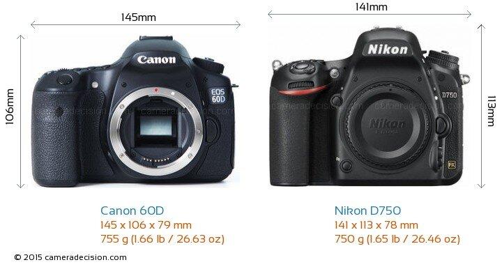 So sánh máy ảnh Canon EOS 60D và Nikon D750