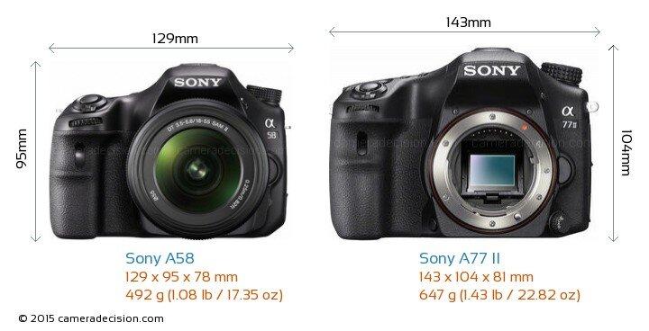 So sánh máy ảnh Sony A77 II và Sony A58