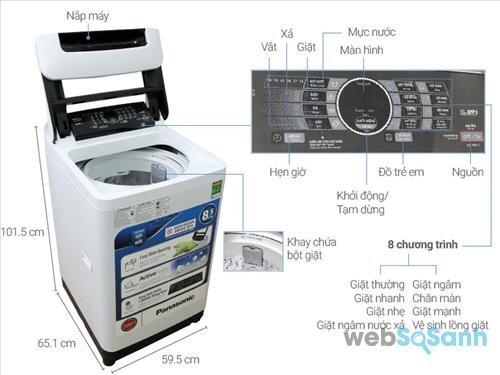 So sánh máy giặt lồng đứng 5 triệu Panasonic NA-F85A1WRV và Electrolux EWT8541