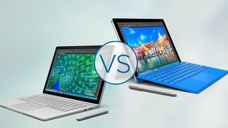 So sánh máy tính bảng lai Surface Book và Surface Pro 4