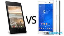 So sánh máy tính bảng Sony Xperia Z3 8 inch và Google Nexus 7