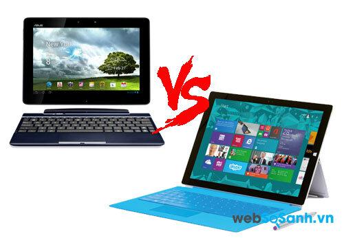 So sánh máy tính bảng Transformer Pad TF300 và Surface Pro 3