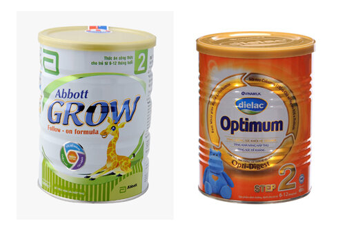 So sánh sữa bột Abbott Grow 2  với Optimum Step 2 Vinamilk
