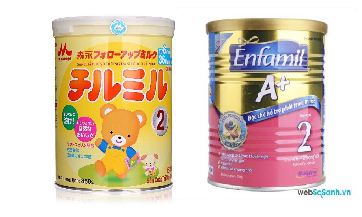 So sánh sữa bột Morinaga và Enfamil A +