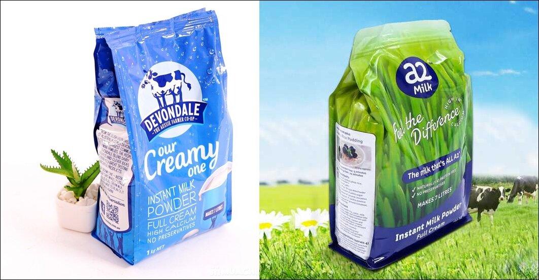So sánh sữa bột nguyên kem Devondale và sữa bột nguyên kem a2