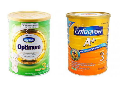 So sánh sữa Dielac Optimum 123  với sữa bột Enfagrow A+ 3 loại 900gr