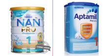 So sánh thành phần dinh dưỡng có trong sữa bột công thức Nan số 1 và sữa Aptamil số 1