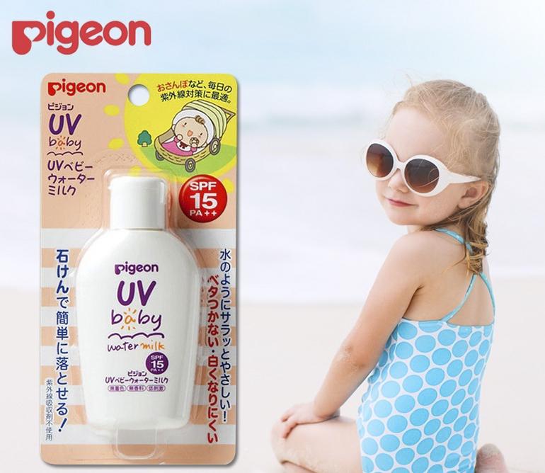 Kem chống nắng cho bé Pigeon UV baby milk Waterproof SPF 50 PA+++