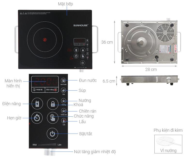 Bếp hồng ngoại cảm ứng Sunhouse SHD6017