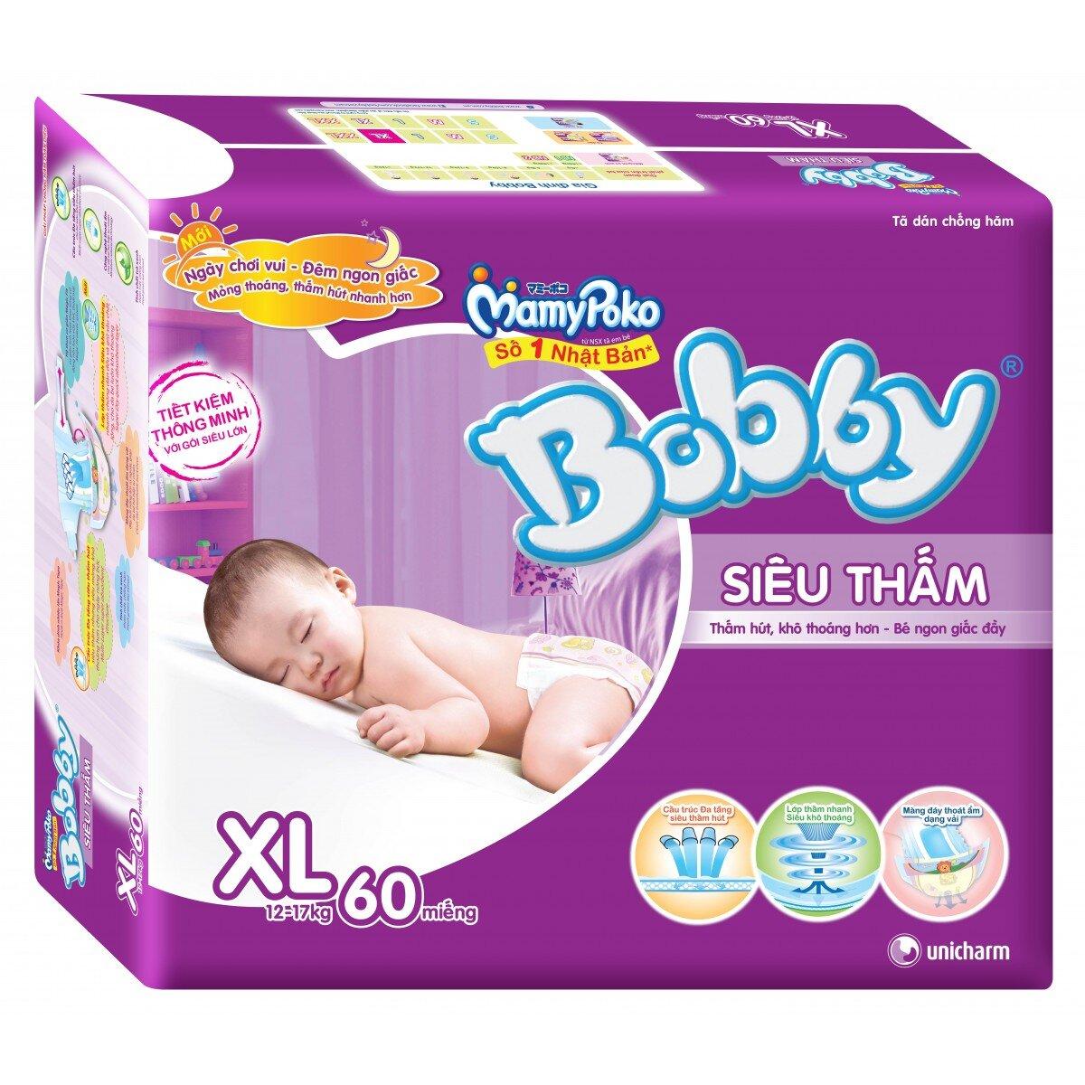 Tã dán Bobby siêu thấm XL60 cho bé trên 12 Kg