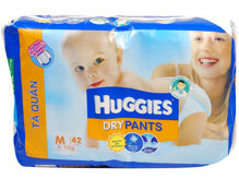 Tã quần Huggies Dry Pants Jumbo M42 – Lớp thấm siêu nhanh thế hệ mới
