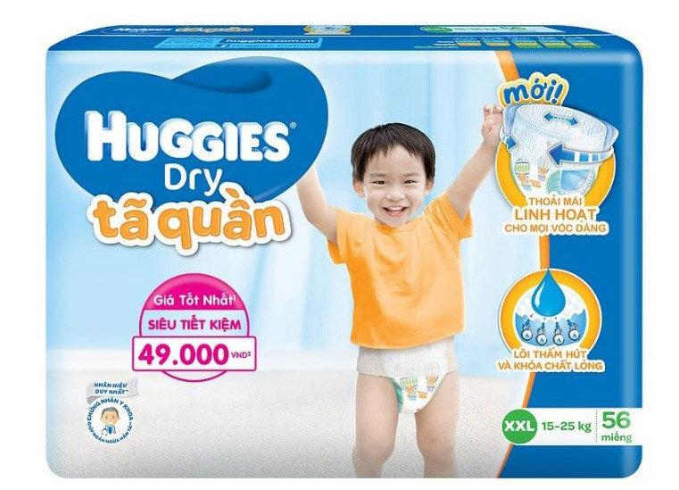 Tã quần HUGGIES DRY PANTS SUPER JUMBO XXL56 lựa chọn tối ưu cho bé lớn