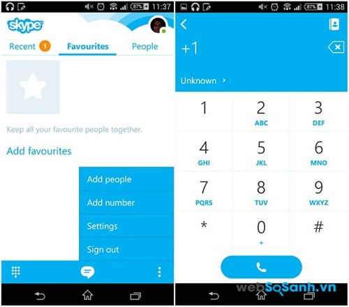 Giao diện ứng dụng Skype