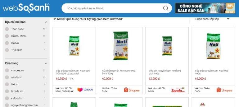 Giá sữa bột nguyên kem Nutifood