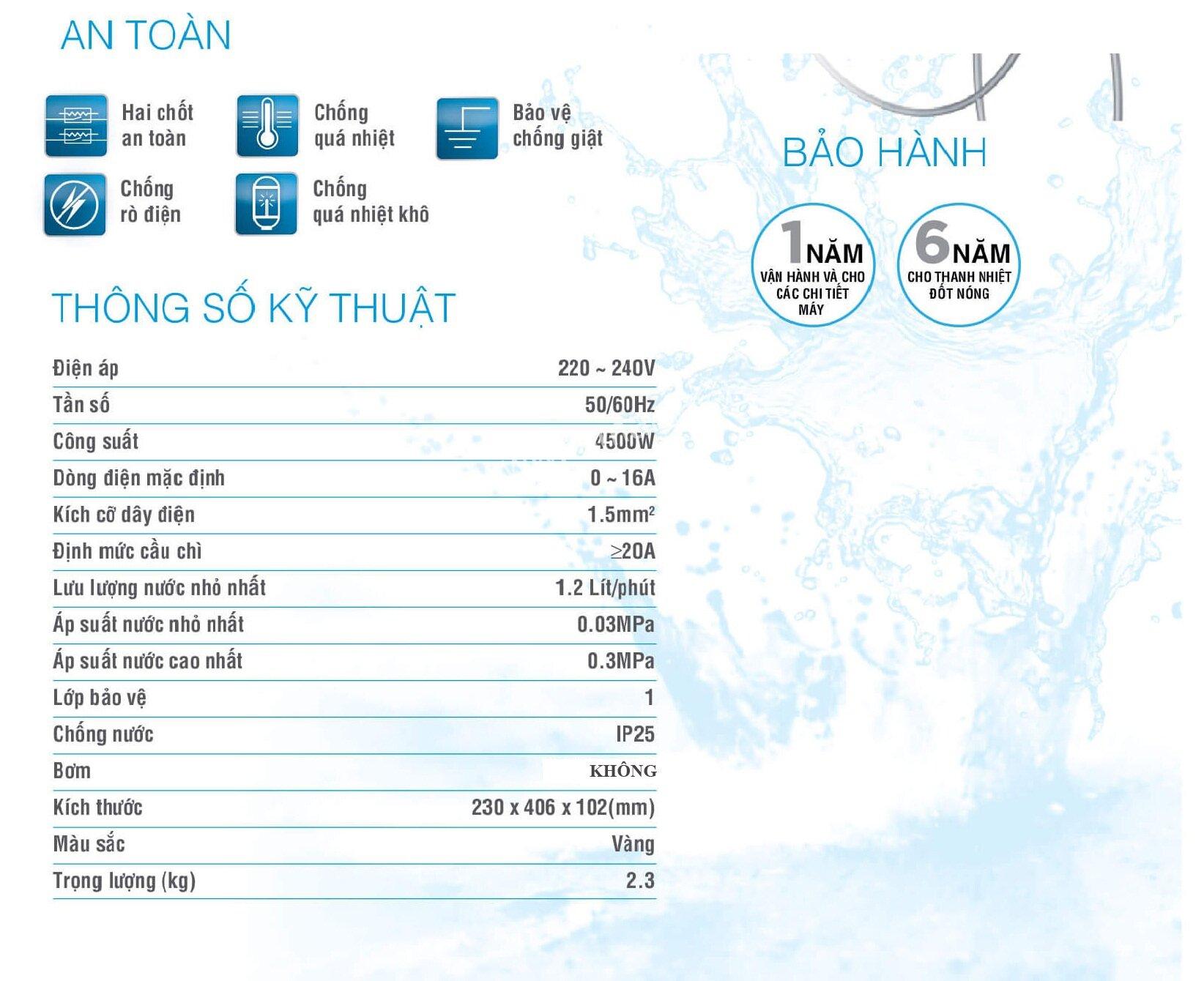 Thông số kỹ thuật máy nước nóng Midea
