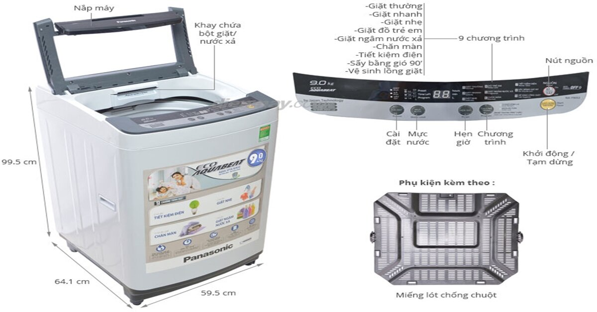 Tổng hợp 3 mẫu máy giặt Panasonic 9kg giá từ 6 triệu đồng bán chạy nhất trên thị trường 2018