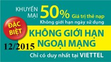 Tổng hợp các chương trình khuyến mãi nạp thẻ Viettel tháng 12/2015
