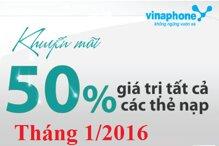 Tổng hợp các chương trình khuyến mãi nạp thẻ Vinaphone tháng 1/2016