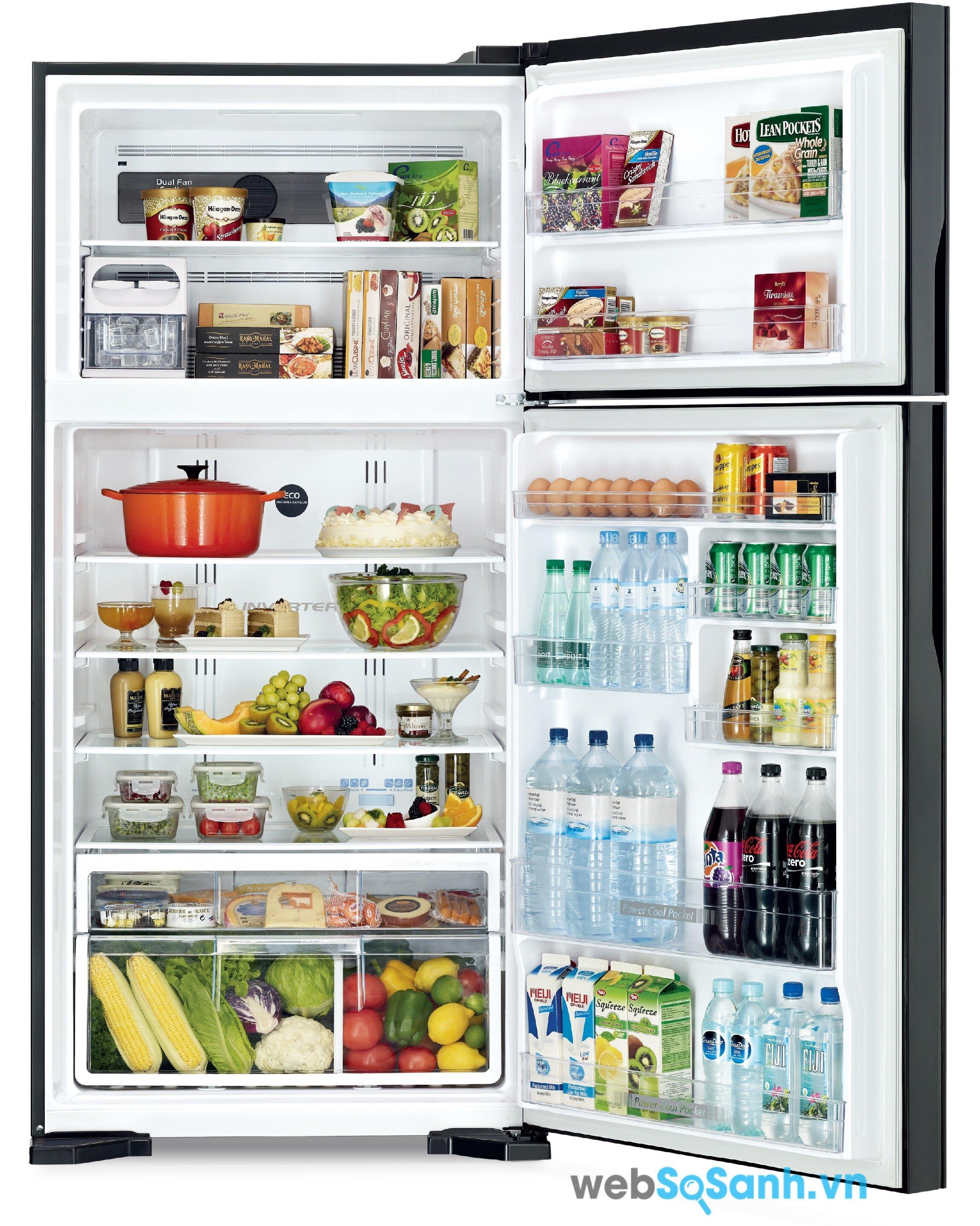 Tủ lạnh Hitachi R-VG540PGV3 bền bỉ với khay kính chịu lực