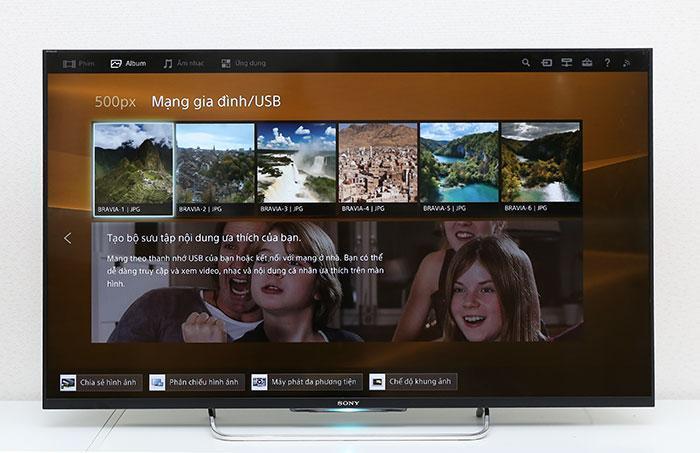 giao diện entertainment trên tivi sony