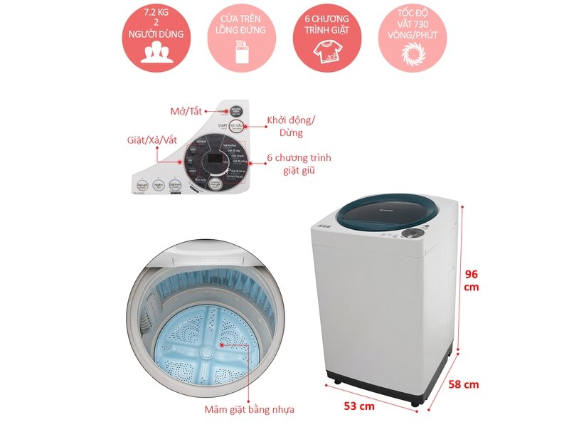 Máy giặt Sharp ES-U72GV-G có xuất xứ từ Thái Lan