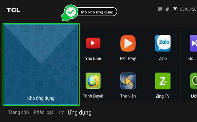 kho ứng dụng trên tivi tcl