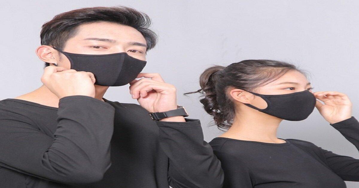 khẩu trang đen hàn quốc bằng vải
