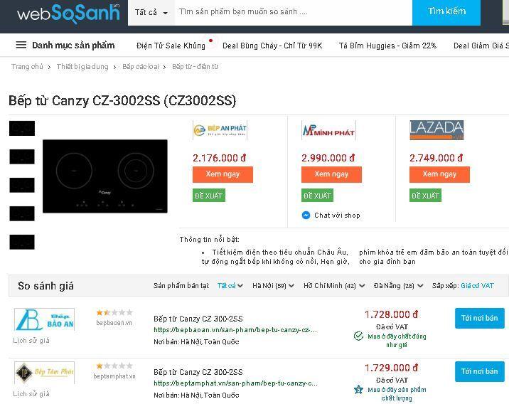 So sánh giá Bếp từ Canzy CZ-3002SS (CZ3002SS)