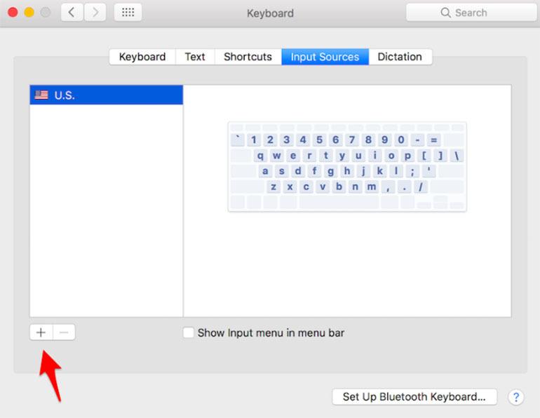 Truy cập vào biểu tượng dấu cộng để thêm bàn phím