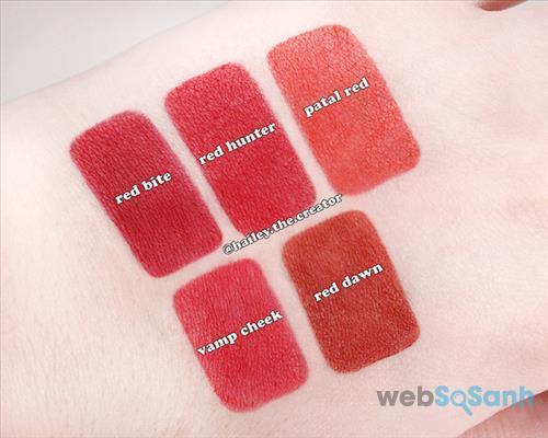 Bảng màu của Too Cool For School - Glam Rock Vampire Kiss Red Edition gồm có 5 màu đỏ