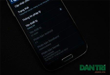 Galaxy S4 phiên bản Black Edition đang sử dụng Android phiên bản 4.3.