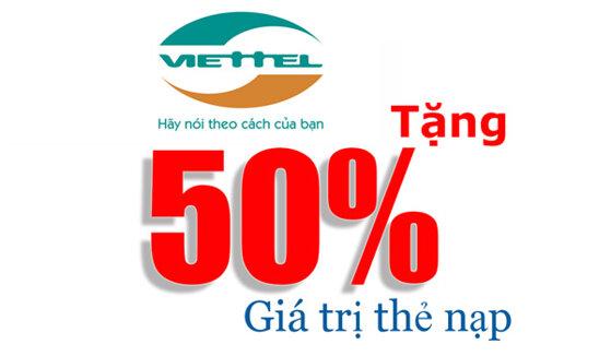 Viettel khuyến mãi tặng 50% giá trị thẻ nạp từ 28 – 29/12/2015