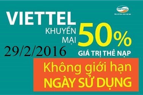 Viettel khuyến mãi tặng 50% giá trị thẻ nạp trong ngày 29/2/2016